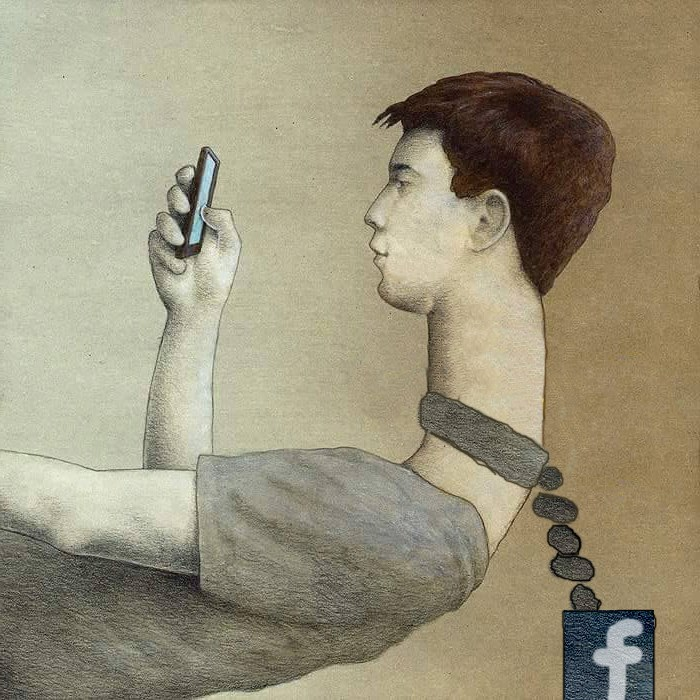 Enslaved by Facebook - Facebook chained to the neck of a user who is bent over looking at his phone