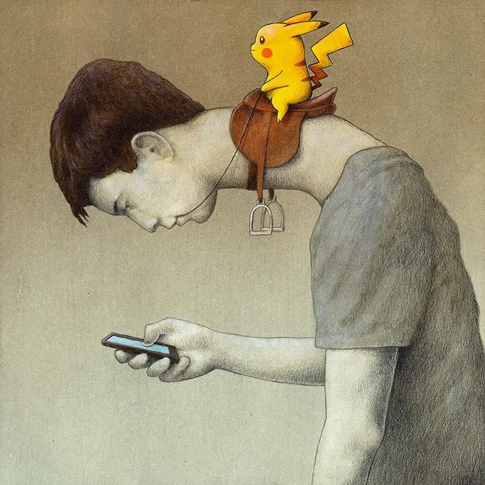 Enslaved by Pokemon Go - Pikachu rides on a saddle on the neck of a user who is bent over looking at his phone