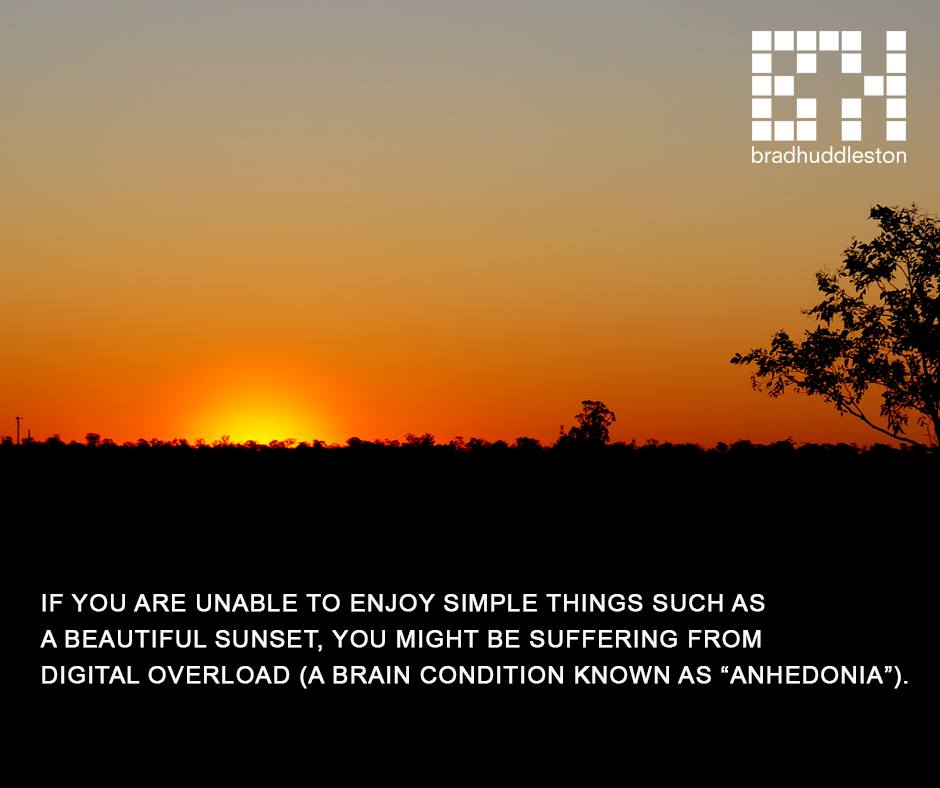 IF YOU ARE UNABLE TO ENJOY SIMPLE THINGS SUCH AS A BEAUTIFUL SUNSET, YOU MIGHT BE SUFFERING FROM DIGITAL OVERLOAD (A BRAIN CONDITION KNOWN AS ANHEDONIA